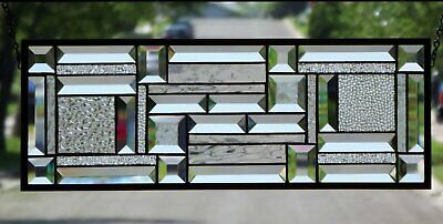 •Clear Geo • 2 PANELS Available Beveled Stained Glass Window Hanging