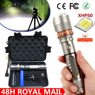 High Power 900000LM T6 Zoom Flashlight LED USB Rechargeable Torch Lamp Light
