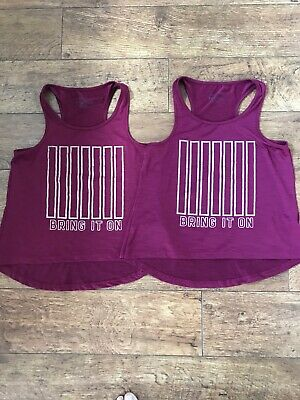 Twin Girls Gym Vest Tops, Primark, Age 11-12