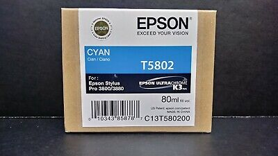Epson Printer Ink Cyan T5802 For Epson Stylus Pro 3800/3880 New - In Box