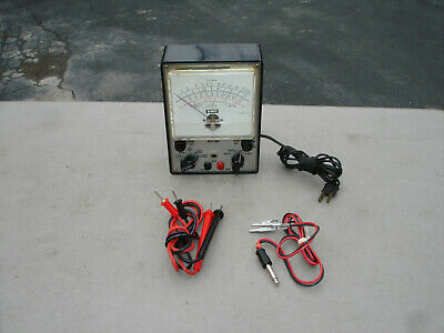 National Schools Model NTS-468 VTVM Vacuum Tube Voltmeter W/Leads Working