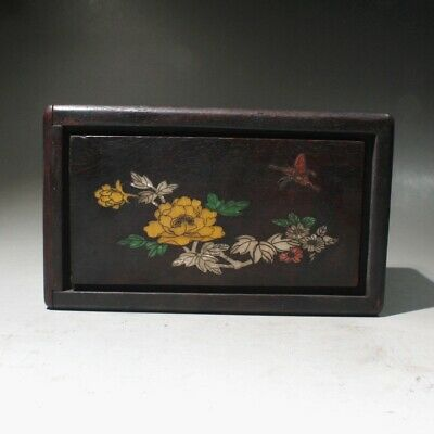 Collectable China Handwork Old Boxwood Carve Flowers Delicate Noble Storage Box
