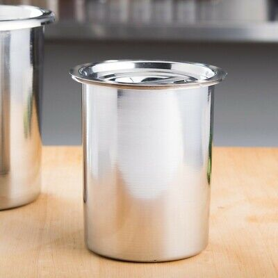 Restaurant Equipment 2 Stainless Steel Bain Marie Pots with Lids 1.5 Quart