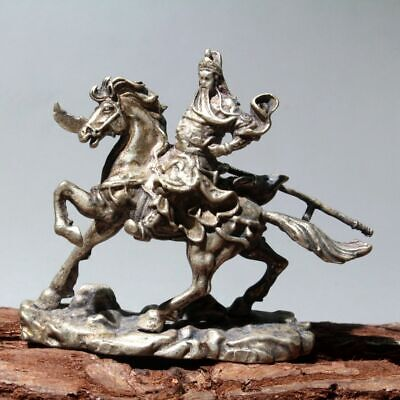 Collectable Old Miao Silver Handwork Carve Guanyu Riding Horse Bring Luck Statue