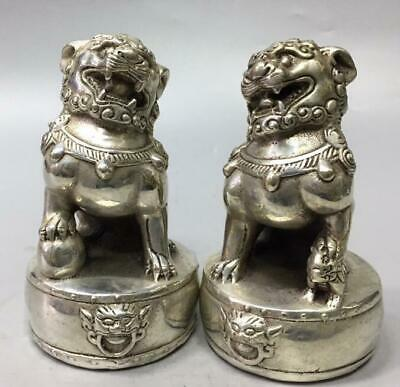 Pair China old Miao Silver Handwork sculpture lion copper decoration Statue/We02