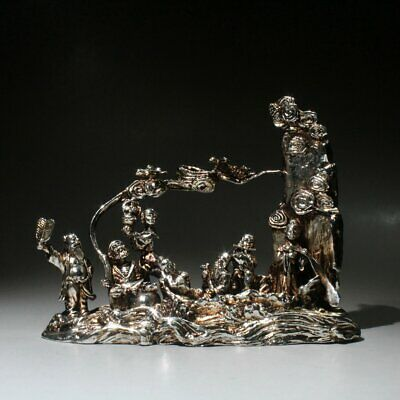 Collectable China Miao Silver Hand-Carved Eight Immortals Auspicious Rare Statue