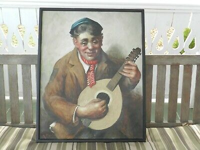 Vtg Mcm Signed Oil On Canvas Portrait Mandolin Player Art Painting Italy