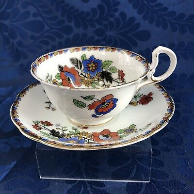 Antique Aynsley Bone China Floral Teacup & Saucer Gold England Tea Cup