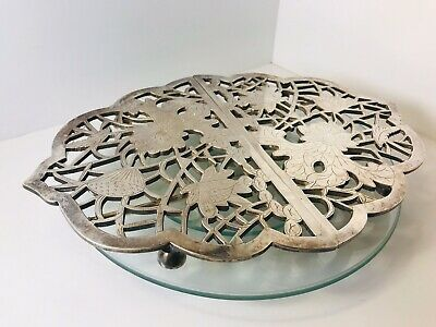 Antique Japanese Silver plated White Copper Tea cup or plate Desk with pattern