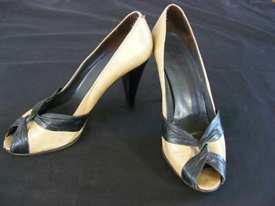 CHRISTIAN DIOR SOULIERS HEELS ~ Peep Toe, All Leather MADE IN FRANCE - WELL WORN