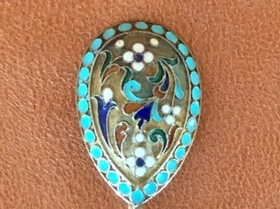Rare Original  Russian Imperial Silver 84 Cloisonne Enamel Spoon Antique Russia