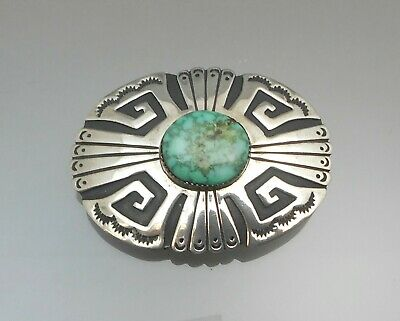 Vintage Navajo Art Tony T. Billy Belt Buckle Turquoise Sterling Silver Handmade