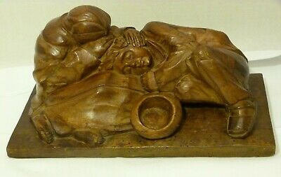 """Fine Wood Hand Carved Sculpture of Two Homeless Children on 13"""" Wood Plank Base"""