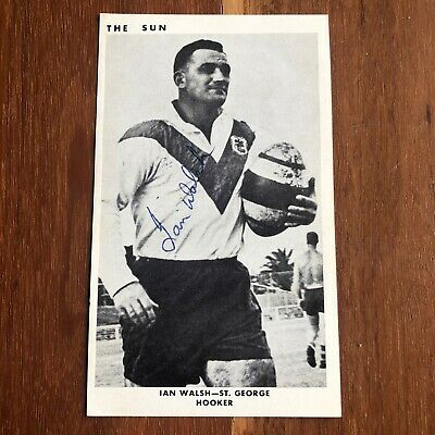 1966 Autographed St George Dragons Ian Walsh Card NRL Rugby Immortals