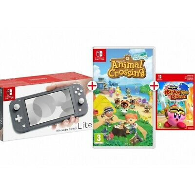 Switch Lite Gris + Animal Crossing Físico + Código Gratis Super Kirby Clash