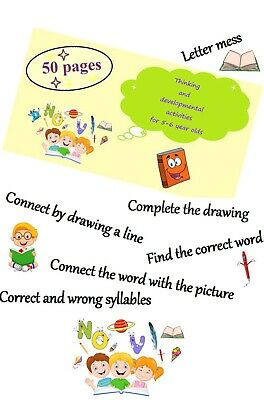 Reading Developmental Writing Education Exercise Task Page For Toddler Kid Baby