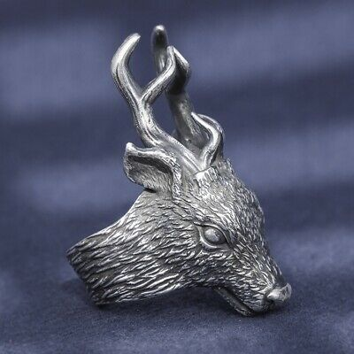 solid 999 Sterling Silver MENS handmade deer punk ring jewelry unique S4529