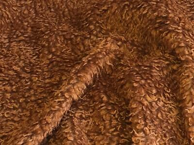 CURLY Teddy Faux Fur Fabric Material - CHESTNUT