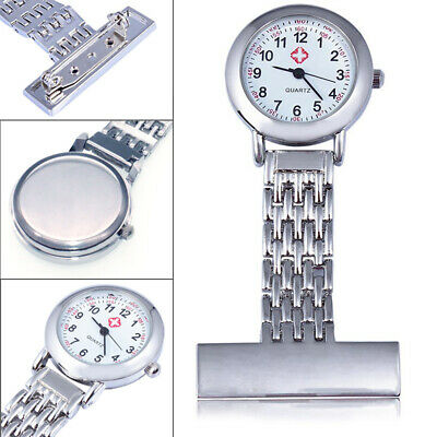 Metal Pin Quartz Tunic Fob Watch Stainless Steel Nurse Pocket Watches Brooch UK