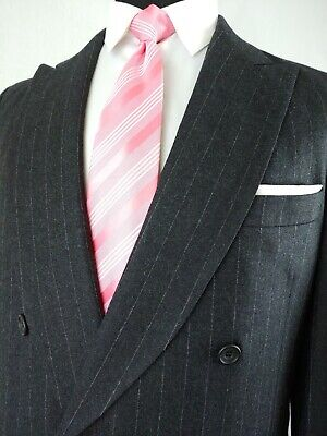 Paul Stuart Mens Double Breasted Pinstripe Blazer Suit Jacket Gray Size 40L