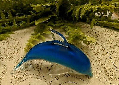 DOLPHIN Large Murano Hand Blown Blue White Art Glass Jumping Paperweight Figure
