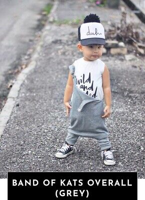 BY FAITH & GRACE BFG Band Of Kats Grey Insta Cool Drop Crotch Overalls 3 4 5