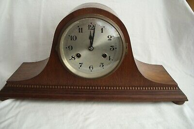 Antique / Vintage 8 Day Napoleons Hat Striking Mantle Clock For Repair.