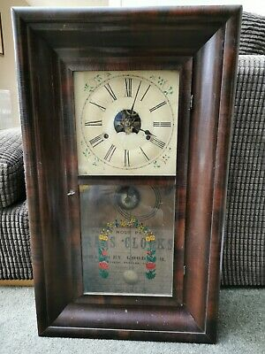 Antique Wood Case Wall Clock c.1830's. American. Chauncey Goodrich Forestville.