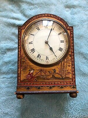 WONDERFUL ANTIQUE FRENCH CHINOISERIE MANTLE CLOCK c1920