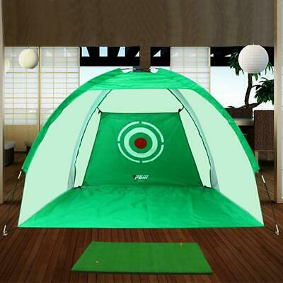 2M Foldable Golf Driving Cage Practice Hitting Net Garden Indoor Outdoor Green