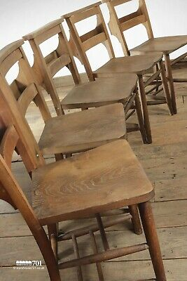 Vintage Late Victorian Elm Seat Chapel Church Wooden Dining Chairs