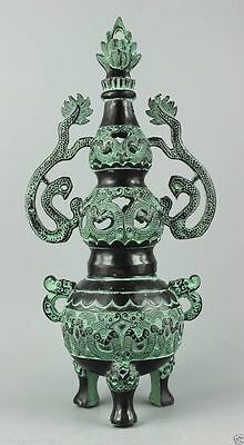 Asia Collectible Decorated Old Handwork Carving Bronze Ssangyong tower Censer