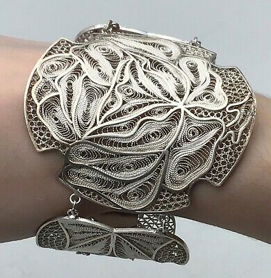 Estate Antique Peru Filigree Panel Bracelet Sterling with Gold wash accent