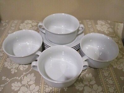 Williams Sonoma Essential White Flat Cream Soup Bowls with Saucers (8pcs)