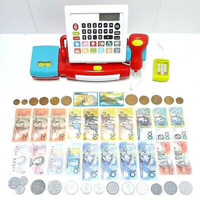Kids Pretend Supermarket Cash Register Playset Educational Toy With Cash & Coins