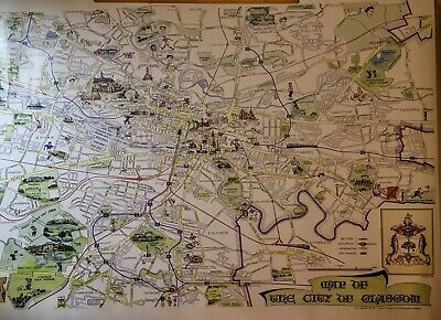 V. Large A0 Size Vintage Glasgow City Municipal Map circa 1957 - Pre M8 Motorway