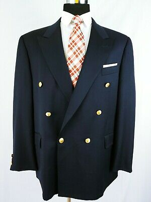 VINTAGE Gieves & Hawkes Double Breasted Navy Blue Gold Bttn Blazer Jacket 44/46R