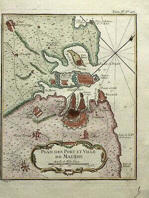 Malta Valletta 1764, port watchtowers forts castle Malthe, by Bellin antique map