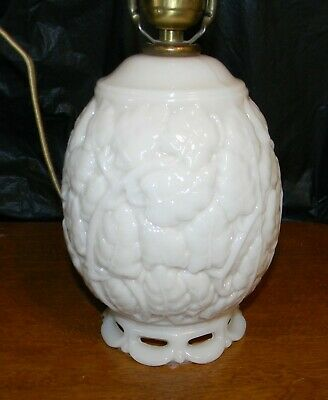 Vintage Aladdin Alacite Leaf Milk Glass Table Lamp G186