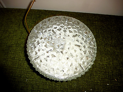 A  ROUND VINTAGE FRENCH MID CENTURY  ICE GLASS CEILING LIGHT FOR REPAIR no1
