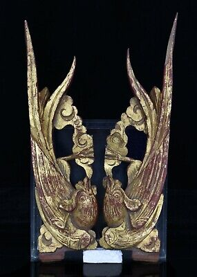 Pair Antique Chinese Red & Gilt Wooden Carving / Carved Statue Figure of Phoenix