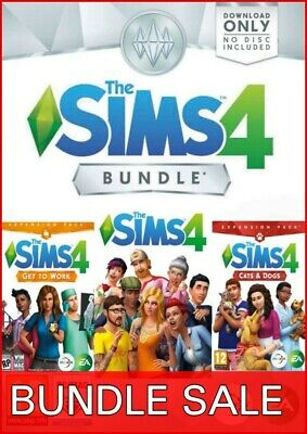 The Sims 4 + Cats & Dogs + Get to Work DLC Bundle Region Free (PC/Mac) - Game