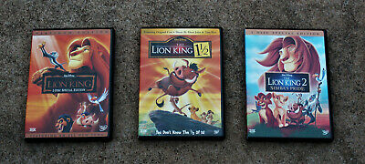 The Lion King Dvd Lot: Platinum 2 Disc Special Edition, 1 1/2, Lion King 2 Simba