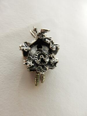 Sterling Silver Beau Cuckoo Clock Charm, Moving Parts    #W801