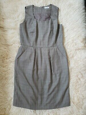 Calvin Klein Professional Dress 12 With Pockets Brown Plaid Business Office