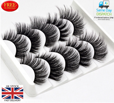 5Pair 3D Mink False Eyelashes Wispy Cross Long Thick Soft Fake Eyelashes FREE UK