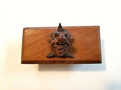Rare Antique Carved Wood Figural Clown Stamp Box