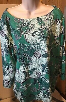Womens Charter Club Top Size Xl Green White Paisley Print New Condition