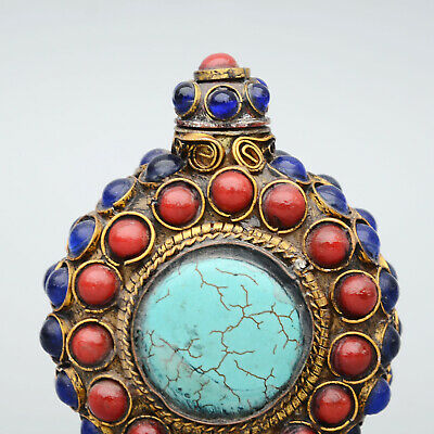 China Collect Old Bronze Hand-Carved Armour Agate & Turquoise Noble Snuff Bottle