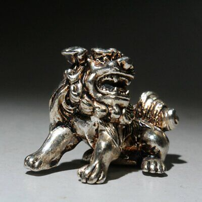 Collectable China Old Miao Silver Handwork Carve Vivid Lion Bring Luck Statue